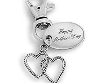 Happy Mother's Day engraved double heart shape keyring - personalised for you, ideal gift PL114
