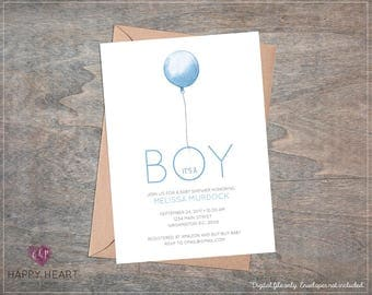 Baby Boy Blue Balloon Modern Baby Shower Invitation / It's a Boy / Classic Simple Baby Shower Invite / Digital Printable File