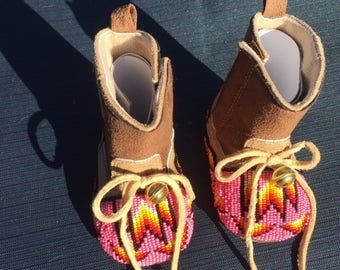 Native American Beaded Cowgirl Booties - Pink