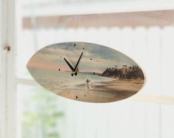 Surfboard Clock Wood Print Beach House Decor Surfer Gift