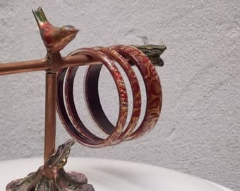 Red Gold Bangles, Set of 3, Fun Stylish Bracelets