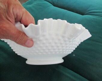 Fenton hobnail large ruffled bowl  12in
