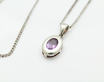 """Chunky Oval Amethyst Pendant on 15"""" Curb Chain in Sterling Silver. [11752]"""