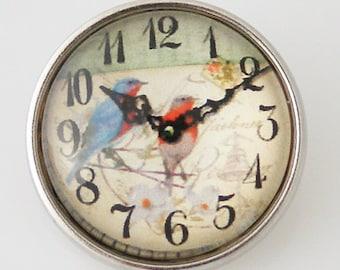 KB2843  Art Glass Print Chunk - Spring Birds Clock Face