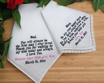 Set of two Father of the Bride and Mother of the Bride Handkerchiefs. Wedding Handkerchiefs. Always your little girl. Set of 2 Hankies