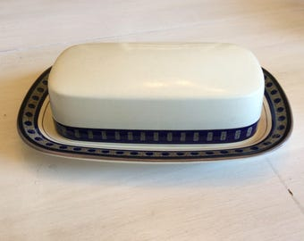 Vintage Mikasa Covered Butter Dish in Aztec Blue