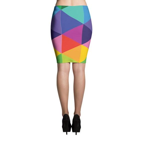 Pencil Skirt - Art Pencil Skirt - Print Skirt - Fitted Skirt - Colorful Skirt - Abstract Skirt - Triangle Skirt - Mini Skirt - Womens Skirt