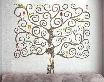 fantasy tree stencil for walls large tree wall stencil stencilslab wall stencils