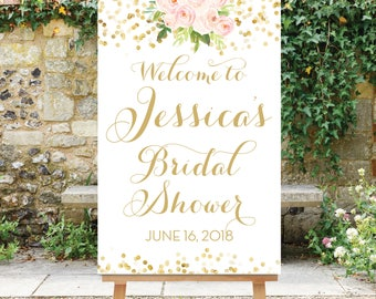 Bridal Shower Welcome Sign, Blush and Gold, Floral Shower Welcome, Digital Sign pdf or jpg, Gold Dots, The Chloe