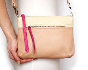 Free shipping! Leather bag, pink bag, beige bag, woman bag, leather crossbody, pink crossbody, shoulder bag, small crossbody