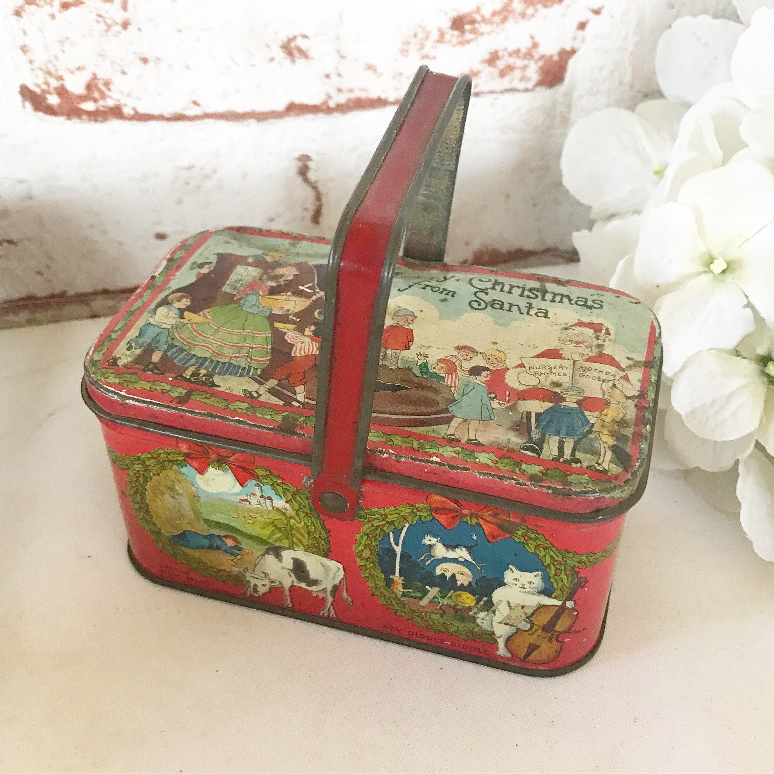 Rare antique santa claus christmas decorative tin litho box for Decorating tins for christmas