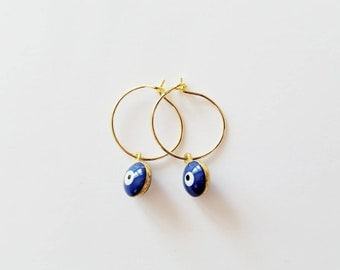 Gold Eve Eye Earrings • Evil Eye Earrings • Gold Earrings • Gold Hoop Earrings
