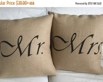 SALE Mr. & Mrs. Burlap Pillow Set - Fits 16 x 16 Pillow Insert- Wedding/Anniversary Gift, His and Hers -Ships Within 3 DAYS!