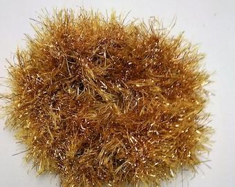 Gold hair scrunchie, christmas scrunchie, gold glitter hair tie, fun scrunchie, scrunchies, pompom hair tie, fluffy scrunchie, ponytail tie