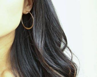 """2 3/8"""" Hammered Gold Filled Hoop Earrings (EH7)"""