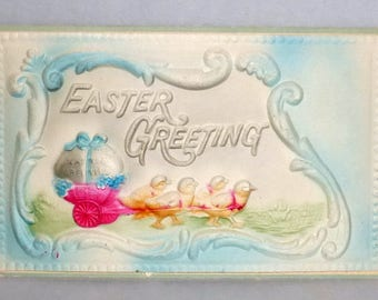 Antique Embossed Easter Greeting Postcard - Chicks & Decorated Egg