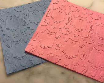 Onesies and Bottle Baby Shower/Gender Reveal Hand Embossed Napkins