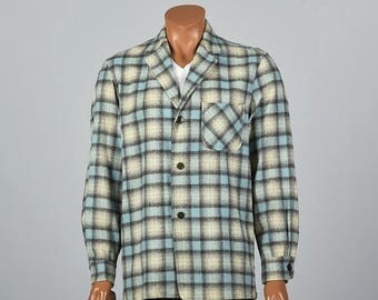 SALE Medium Mens 1950s Wool Jacket 50s Casual Jacket Plaid Shirt Lapels Rockabilly Jacket Leisure Wool Shirt Jacket Vintage Man  Lightweight