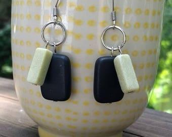Charcoal grey stone/pineapple jasper dangle earrings
