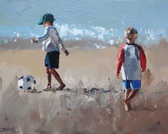 Original Painting For Sale, 'Beach Soccer III'.