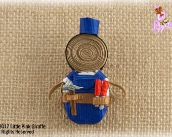 Lil' Poppet™ John Carpenter, Handyman Ribbon Sculpture Hair Clip or Brooch Pin