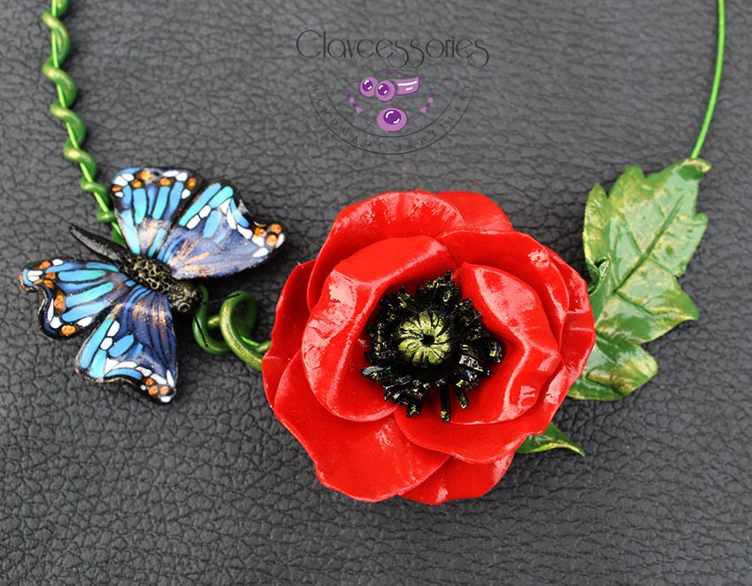 Poppies necklace / Butterfly necklace / Floral necklace / Statement necklace / Choker necklace / Flowers necklace / Polymer clay necklace