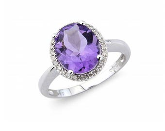 Amethyst Diamond Halo Birthstone Ring in 9ct Gold, February Birthstone