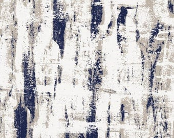 Navy and Taupe Birch Organic Fabric - By The Yard - Girl / Boy / Gender Neutral