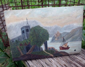 """Sunday Artist Oil Painting, naive but cool...late 19th or very early 20th century...Landscape with Boatman...small 12"""" x 8""""...pastel sky..."""