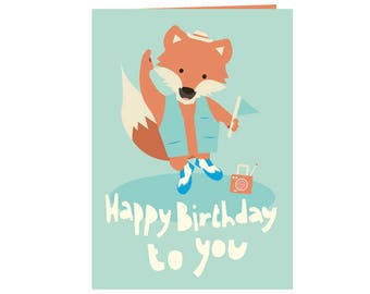 Cute happy birthday card - Happy dancing fox - Happy Birthday to you! - best friends card -  happy and bright colors - eco