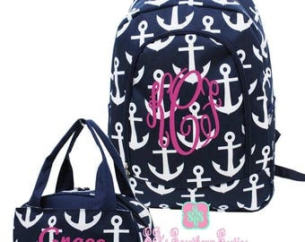 Kid Personalized Backpack and Lunch bag Monogrammed Anchor Backpack and Lunchbox Girl Monogrammed Backpack Girl Monogrammed Lunchbox