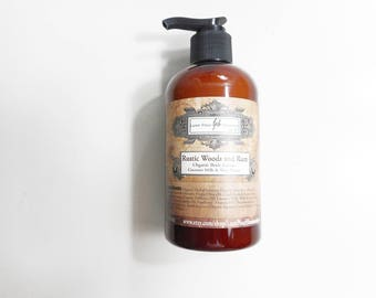 Rustic Woods and Rum Organic Body Lotion - Organic Jojoba Oil, Shea Butter and Coconut Milk - Body Lotion for Men - 9.3 oz