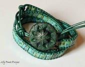 Leather Wrap Bracelet,Green Leather Bracelet,Turquoise Blue Wrap Bracelet,Leather Wrap,Green Leather Cuff,Cuff Bracelet,Boho Bracelet