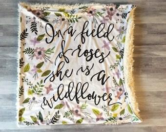Wildflower Floral Minky Baby Blanket- lavender purple, floral nursery, double minky, florals, modern baby blanket, girl baby shower gift,