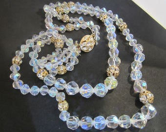 Vintage Glamorous Cut Crystal and Brass Necklace-1950's-FREE SHIPPING (US)