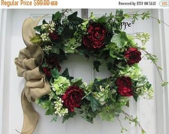 FLORAL DOOR WREATH.....Ivy Hydrangea Peony Door Wreath....Everyday Door Wreath...Front Door Wreath..Interior Decor Wreath..Housewarming Gift