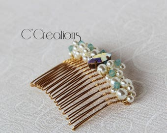 Hair comb, rhinestones and pearls, gold, ivory and celadon green