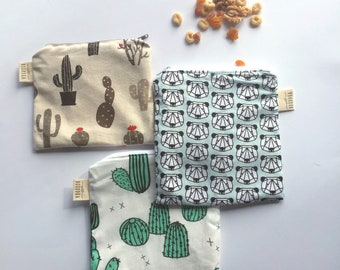 Reusable Snack Bag- Reusable Zipper Bag- Snack Bag