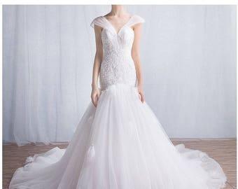 Lace Mermaid Wedding Dress, Mermaid Lace Wedding Gown, Mermaid Wedding Dress, Bridal Gown, Lace Wedding Dress