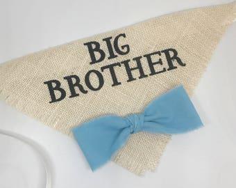 Custom Bow Tie Color Big Brother Ivory Burlap Dog Bandana Burlap Collar with Fabric Bowtie for Pregnancy Announcements Newborn Photo Shoot