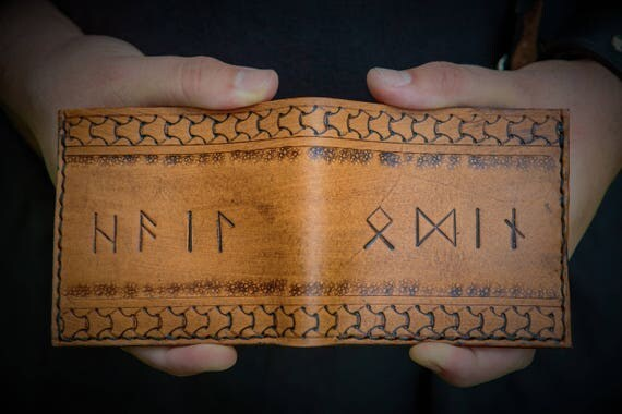 Viking Leather Wallet - Elder Futhark Rune Wallet - Runic Leather Bifold Wallet