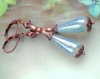 Arctic Ice Earrings, Teardrop Earrings, Handmade Dangles, Long Teardrop Dangles, Blue Speck Earrings, Vintage Style, Czech Glass Teardrops