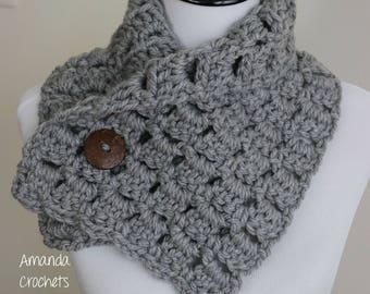 Button Cowl | Crochet Cowl | Winter Accessory | Cowls & Scarves | Crochet Button Cowl | Heather Gray | Red, White, Green Cowl | Neck Warmer