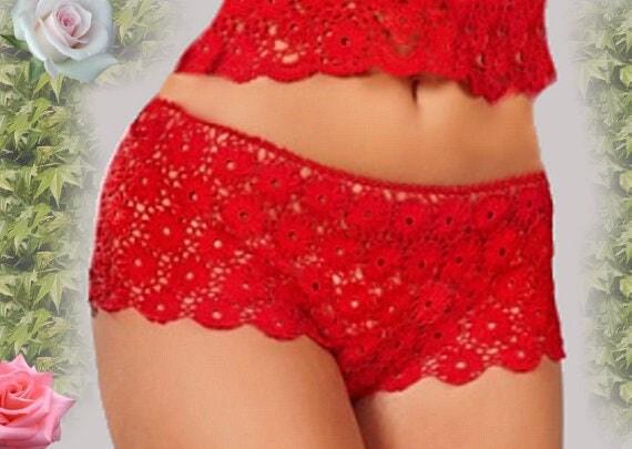 Sexy hot pants crochet bikini cotton lingerie see thru panties boy shorts hot pants crochet lace low rise panties beach summer lingerie