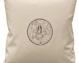 Kali Indian Godess Embroidered Canvas Cushion Cover