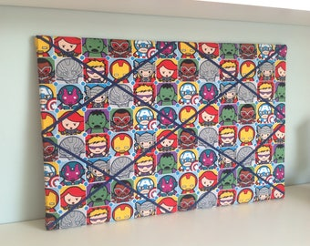 Marvel Superhero Kawaii Fabric covered notice board / pin board /memo board / photo holder /wall planner