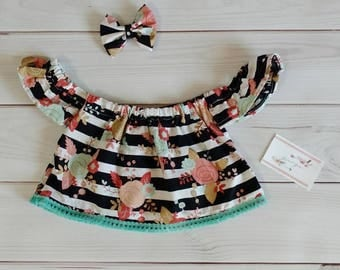 Black and white striped floral crop top, off the shoulder top, tribal crop top, baby off the shoulder top, toddler off the shoulder top