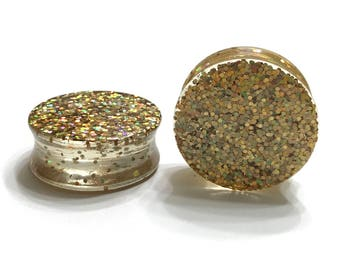 "30mm (1 1/8"") Gold Glitter Plugs - Double Flared Plugs - Gauges - Handmade Earrings"