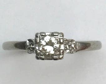 14kt White Gold Diamond Engagement Ring With Side Stones Vintage dated 1942