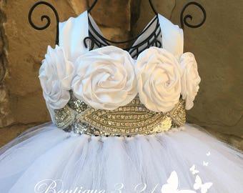 White Flower Girl Dress, White Tutu Dress, White Tulle Dress, White Dress, White Wedding, White, Flower Girl Dress, Tutu Dress, Tulle Dress